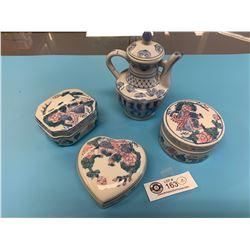 4 Pieces of Chinese Porcelain. 3 Boxes and a Teapot