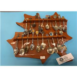 Display Rack and Souvenir Spoons.