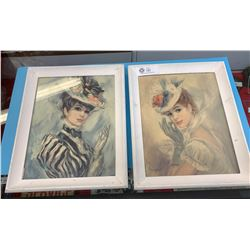 Lot of 2 Framed Picture of A Lady.
