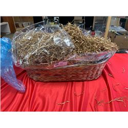 Large Wicker Basket filled with Shredded Paper