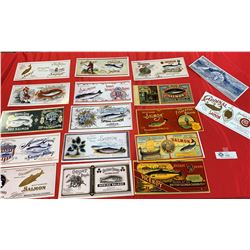 Lot of Reprinted Vintage Salmon Labels