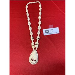 A Very Well Carved Bone Elephant Necklace
