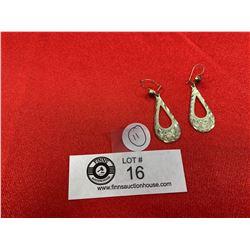 A Nice Pair of Engraved Sterling Silver Teardrop Earrings