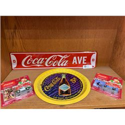 Coca Cola Collectible Lot. Johnny Lightning ars, a Coke Tray and Coca Cola Street Sign