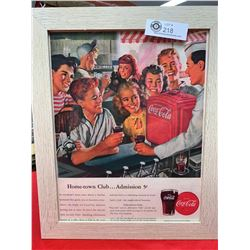 Vintage Coca Cola Advertisment. Nicely Framed