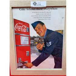 Nice Vintage 1952 Coca Cola Advertisment Nicely Framed