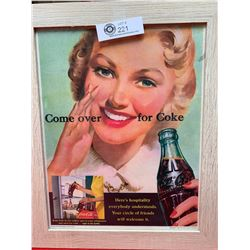 Vintage 1950's Coca Cola Advertisement Nicely Framed