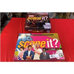 Lot of 2 Trivia Games. 1980's Scene it, and Marvel Scene it