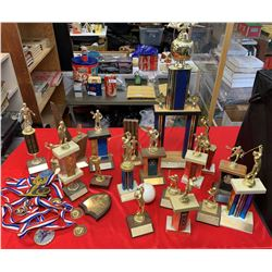 Shelf Lot Full of Vintage Trophies