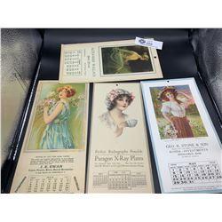 Lot of 4 Antique Calendar Cards