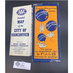 2 Vintage Roadmaps. Michelin Man in the City of Vancouver