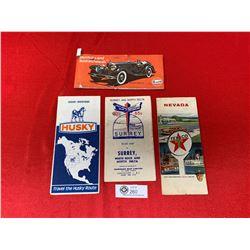 Lot of 4 Vintage Travel Maps. Texico, Husky, Golf etc