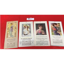 Lot fo 4 Antique Calendar Cards