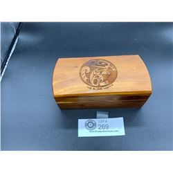 Signed First Nation's Box with a  Wolf Carved on the Lid