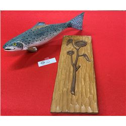 Nicely Carved Wood Trout and a Carved Plaque with Sunflowers on it.