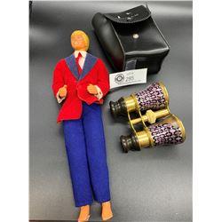 Vintage Ken Doll and Acrylic Vintage Binoculars