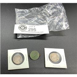 A Pair of Canadian Silver Dimes in Holders Plus a Dime Made Into A Pin