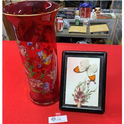 """A Very Nice Quality 14 """" Tall Red Case with Flowers and Botterllies on it With a Shadow Box"""