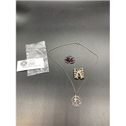 Nice Silver Lot. Sterling Silver Pendant on a Chain + 2 other Silver Brooches