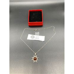 Nice Sterling Silver Sun Pendant on a Silver Necklace