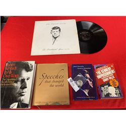 JFK Lot. Books, a record and a US Half Dollar  Coin