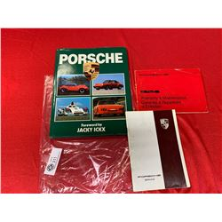 A Porsche Hardcover Book and 2 Pamphlets