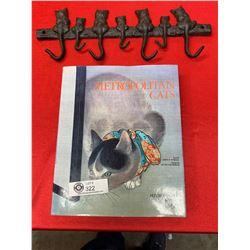Hard Cover Book Metropolitan Cats and a Cast Iron Car Wall Hook, Coat Rack