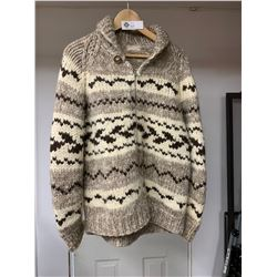 """A Very Nice Cowichan Sweater  29"""" Tall. Arms are 23"""" . Possibly a Size Medium"""