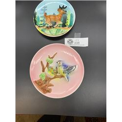 Pair of Vintage Handpainted 3-D Wall Plaques