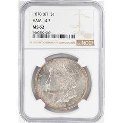 1878 8TF $1 Morgan Silver Dollar Coin NGC MS62 Vam-14.2