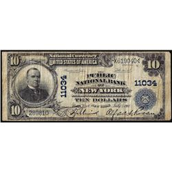 1902 PB $10 Public National Bank of New York, NY CH# 11034 National Currency Note