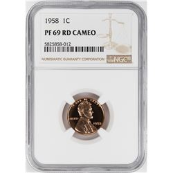 1958 Proof Lincoln Wheat Cent Coin NGC PF69RD Cameo Graded Top Pop