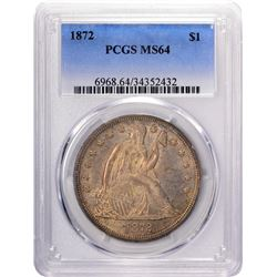 1872 $1 Seated Liberty Silver Dollar Coin PCGS MS64