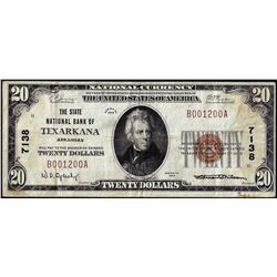 1929 $20 First NB of Texarkana, Arkansas CH# 7138 National Currency Note