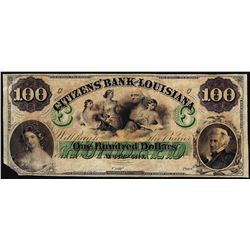 1800's $100 Citizens Bank of Louisiana New Orleans, LA Obsolete Banknote
