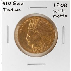 1908 with Motto $10 Liberty Head Eagle Gold Coin
