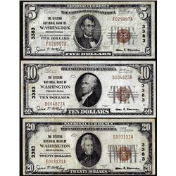 Lot of 1929 $5/10/20 Citizens NB Washington, PA CH# 3383 National Currency Notes
