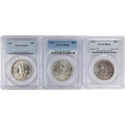 Lot of (3) 1942 Walking Liberty Half Dollar Coins NGC MS64