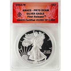 2011-W $1 Proof American Silver Eagle Coin ANACS PR70 DCAM First Release