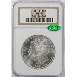 1881-S $1 Morgan Silver Dollar Coin NGC MS66 CAC