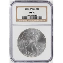 2002 $1 American Silver Eagle Coin NGC MS70