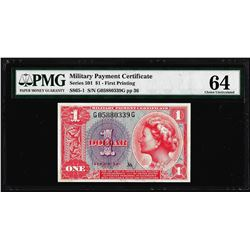 Series 581 $1 Military Payment Certificate Note S-865-1 PMG Choice Uncirculated 64