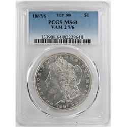 1887/6 Top 100 $1 Morgan Silver Dollar Coin PCGS MS64 VAM 2 7/6