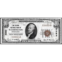 1929 $10 Citizens NB of Washington, Pennsylvania CH# 3383 National Currency Note