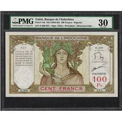 1963-65 Banque de l'Indochine Tahiti 100 Francs Note Pick# 14d PMG Very Fine 30