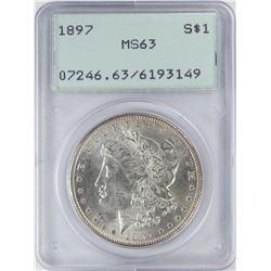 1897 $1 Morgan Silver Dollar Coin PCGS MS63 Old Green Rattler