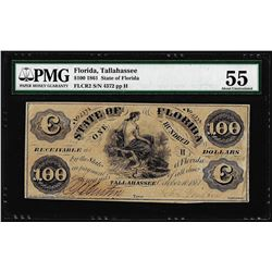 1861 $100 State of Florida Tallahassee Cr.2 Obsolete Note PMG About Uncirculated 55