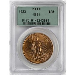 1923 $20 St. Gaudens Double Eagle Gold Coin PCGS MS61