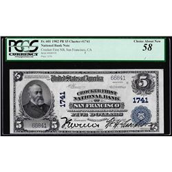 1902PB $5 Crocker First NB San Francisco, CA CH# 1741 National Note PCGS Ch. About New 58