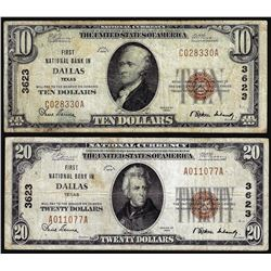Set of 1929 $10/$20 NB of Dallas, TX CH# 3623 National Currency Notes